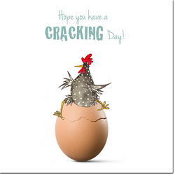 Fun Chicken Card - Hope you have a Cracking Day - Blank inside, Birthday, Friend