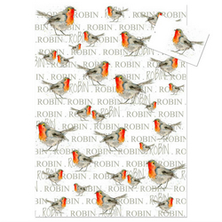 Robin Wrapping Paper (white), Bird Gift Wrap