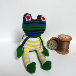 Sock Frog - green, yellow and blue