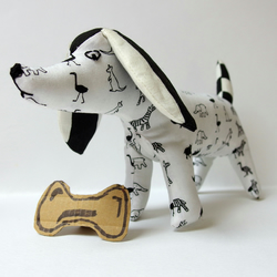 Fabric Dog ornament - Black & White Animal Print cotton