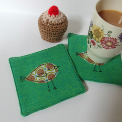 Fabric Coasters - Green with bird design