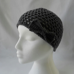 Slate Grey Mesh Beanie with Bow and Flower Detail