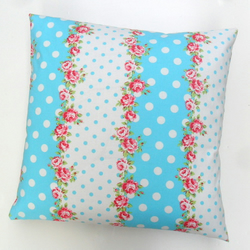 Polka Dot And Floral Fabric Cushion