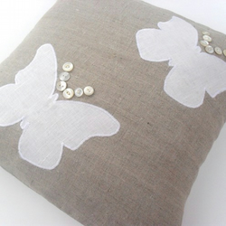 Pretty Appliqued Butterfly Cushion