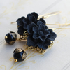 Black Flower Cabochon  Earrings
