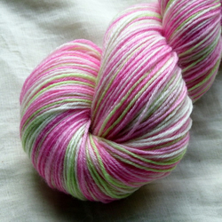 'Pink Tulips' - Superwash BFL Bamboo Sock Yarn 100g