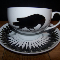 Raven Pair of Cappuccino Cups & Saucers Hand Painted to order by Tattoo Tea Lady