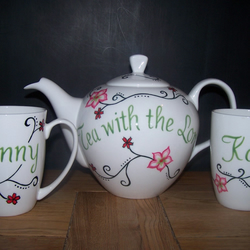 Hand painted teaset tattoo inspired flowers with 2 matching mugs