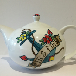 MR & MRS WEDDING TEAPOT HAND PAINTED ANCHOR TATTOO FLOWERS