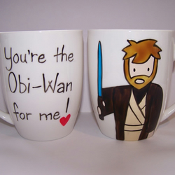 Obi-Wan Kenobi hand painted mug Star Wars Valentines Father's Day Birthday china