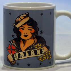 Sailor Girl Tattoo mug personalised name by TattooTeaLady