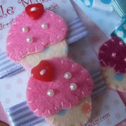 Pair of Sweet Baby Pink Polka Cupcake Hair Clips, Slides!