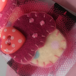 Pair of Funky Hot Pink & Black Polka Cupcake Hair Clips! FREE UK SHIPPING!!
