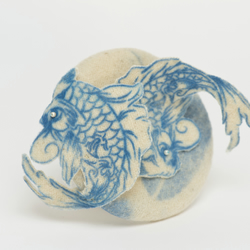 blue cream koi carp fish