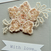Flower brooch -cream and pink beaded lace.
