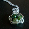 SALE Shades of Green Pearl Birds Nest Silver Necklace
