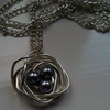Handmade Wire Birds Nest Grey Pearl Necklace