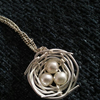 Handmade Wire Birds Nest Pearl Necklace Silver