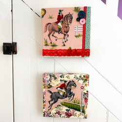 PAIR of  VIntage fabric  Horse Riding Jumping Dressage  Pictures