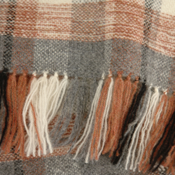 Luxury hand woven lambswool scarf. Rust, cream, grey and black