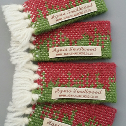Hand Woven Napkin Rings - Set of 4 - Green and Berry Red