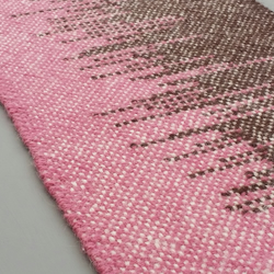 Hand Woven Wool Table Runner - Pink and Brown
