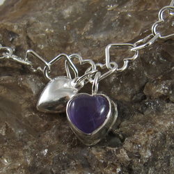 Pretty Sterling Silver and Amethyst Heart Charms Bracelet