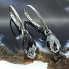 Elegant Sterling Silver with Grey Black Swarovski Crystal Drop Earrings