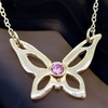 Sterling Silver Butterfly Necklace with Pink Cubic Zirconia (CZ)