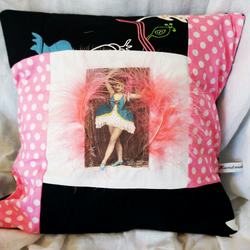 Vintage Cabaret Feather Girl Dotty Pink Cushion Cover