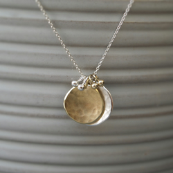 9ct yellow gold and silver large organic disc charm pendants and chain