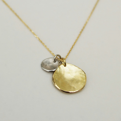 18ct yellow gold and platinum organic disc pendants and chain
