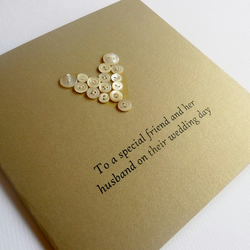 Button Heart Wedding Card - with your own personalised message