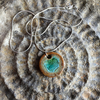 RESERVED Ceramic and Recycled Glass Pendant on Sterling Silver Chain