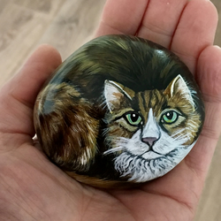 cat hand painted pebble rock art stone pet ornament