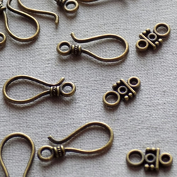 10 Antique bronze tone Hook Clasp Sets
