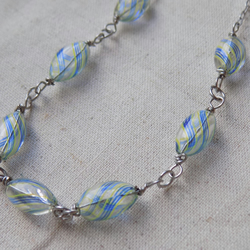 Blown Glass and Stainless Steel Necklace