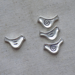 10 Silver tone Bird Spacer Beads 15 mm