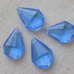 10 Vintage Light Sapphire Blue Glass Drop Beads 20mm