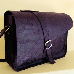 Purple Waxy Leather Hand Stitched Satchel