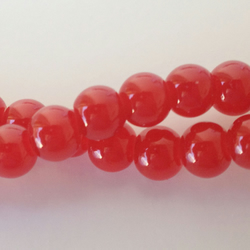 Red glass beads round  6mm. 70, beads ideal for jewellery making
