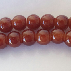 Brown  glass beads round 6mm . 70 beads ideal for jewellery making
