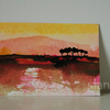 RESERVED Sunset landscape with trees - Original ACEO