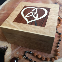 Wooden Trinket Box Heart Knot