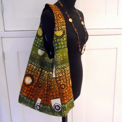 Retro 60s Vintage Fabric Hobo Bag -  Autumn colours
