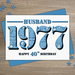Happy 40th Birthday Husband Greetings Card - Year of Birth - Born in 1977 Facts