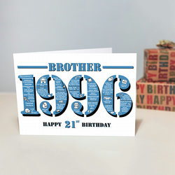 Happy 21st Birthday Brother Greetings Card - Year of Birth - Born in 1996 Facts