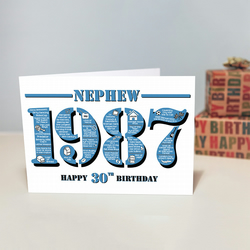 Happy 30th Birthday Nephew Greetings Card - Year of Birth - Born in 1987 Facts