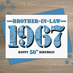 Happy 50th birthday brother in law greetings ca folksy happy 50th birthday brother in law greetings card year of birth born 1967 facts bookmarktalkfo Gallery