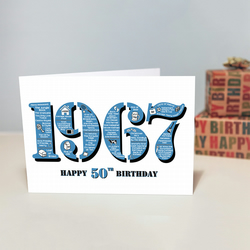 Happy 50th Birthday Male Mens Greetings Card Year of Birth - Born 1967 Facts A5